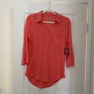 NWT Pastel Orange 3/4 Long Sleeve Blouse